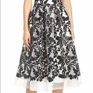 Eliza J S/M Mesh Sequin Print Midi Party Skirt
